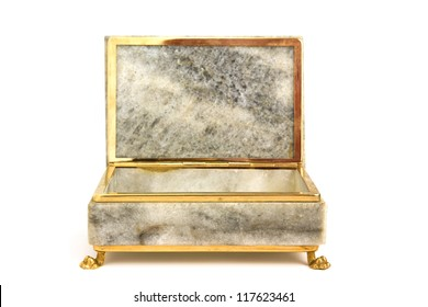 Empty jewelry box isolated on white background