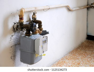 Empty kitchen interior with gas meter. Architecture background.