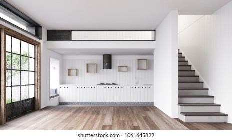 Empty kitchen in loft with stairs and big windows 3D rendering