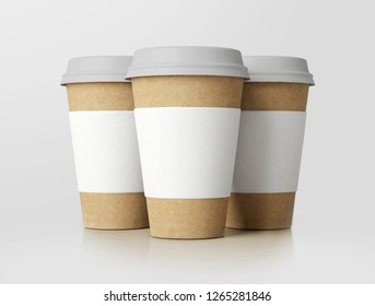 Empty label white paper coffee cup