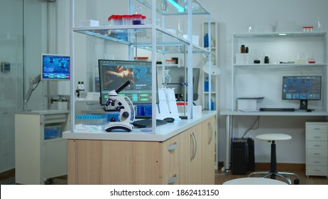 Empty laboratory modernly equipped with nobody in it, prepared for pharmaceutical innovation using high tech and microbiology tools for scientific research. Vaccine development against covid19 virus.