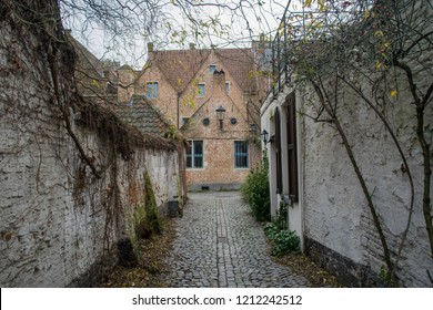 Empty laneway in the Groot Begijnhof of Mechelen, Flanders, Belgium