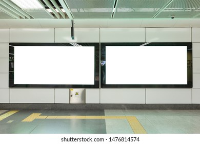 Empty large white advertising billboard with abstract blur background. For design and advertisement concept