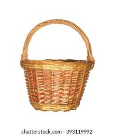 Empty large wicker basket isolated on white background.