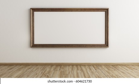 Empty large wooden frame on white wall background. 3D rendering.
