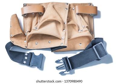 empty leather big toolbelt isolated on white
