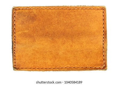 Empty leather label background isolated on white background.