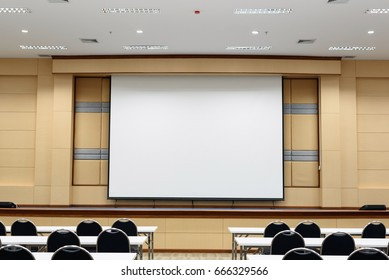 Empty lecture and conference hall in university.Interior meeting room.