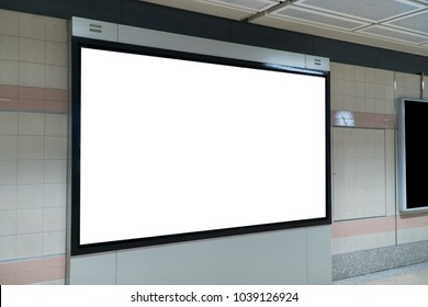 empty LED promotion banner display on the wall indoor,advertising information for announcement message successful marketing,white screen mock up template
