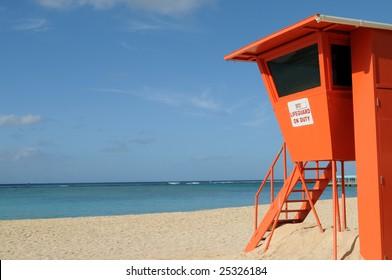 Empty lifeguard post on Waikiki Beach in Honolulu, Hawaii
