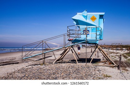 An empty lifeguard station in California
