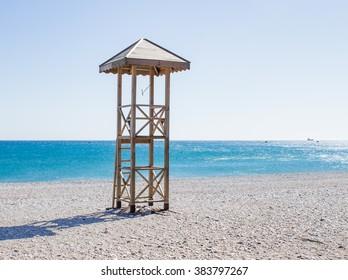 Empty lifeguard's tower on a Turkish beach, off-season