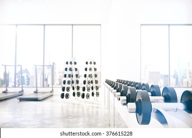 Empty light gym room with Gym interior with dumbbells and treadmills 3D Render