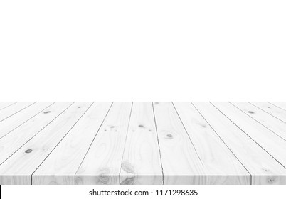 Empty light white wood table top isolate on white background