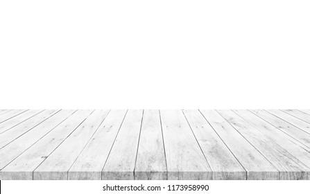Leerer hellweißer Holztisch einzeln auf weißem Hintergrund