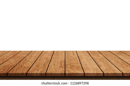 Empty light wood table top isolate on white background - can used for display or mock up your products.