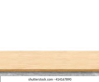 Empty light wood table top isolate on white background, Leave space for placement you background,Template mock up for display of product.
