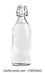 empty liquor bottle on a white background