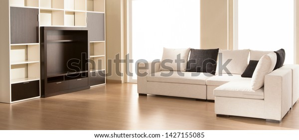 Empty Living Room Couch Tv Furniture Stock Photo Edit Now 1427155085