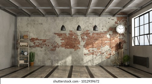 Empty living room in industrial style withdecor objects and brick wall - 3d rendering