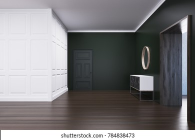 Empty living room interior with white and black walls, a wooden floor and a chest of drawers near a wide doorway. 3d rendering mock up