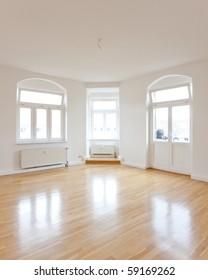 empty living room of a loft like flat