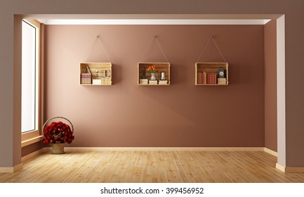 Empty Living room with  wooden crates used as a bookcase- 3D Rendering