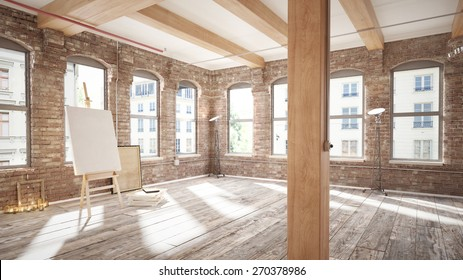 Empty loft with canvas and easel (3 d render using 3 d s Max)