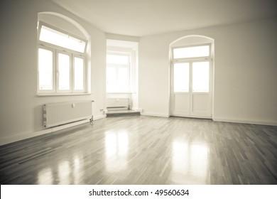 empty loft like living room, vintage monochrome