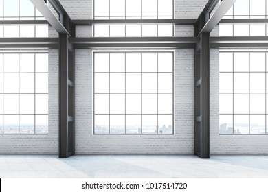 Empty loft office interior in a former factory building. Large windows with a cityscape. Concept of advertising and business. 3d rendering mock up
