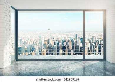 Empty loft room with big window in floor and city view 3D Render