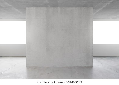 Empty loft room with concrete wall in the middle 3D Render