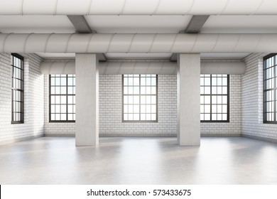 Empty loft room with white brick walls, columns and pipes near the ceiling. Concept of a comfortable office. 3d rendering. Mock up.