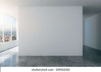 Empty loft room with white walls, city view and concrete floor 3D Render