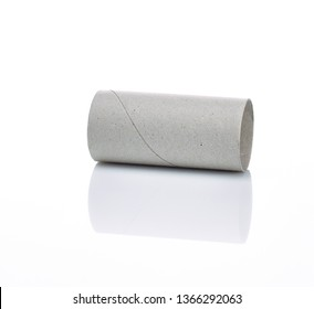 empty loo paper roll on white