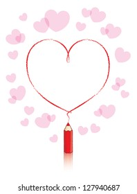 Empty Love Heart Message Drawn by Small Red Pencil with Reflection and Small Pink Hearts Background - Raster