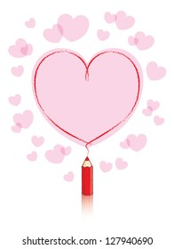Empty Love Heart Message Drawn by Small Red Pencil with Reflection and Pink Hearts Background - Raster