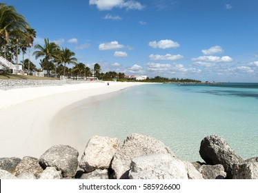 The empty Lucaya beach in Freeport town on Grand Bahama Island.