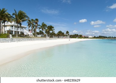 The empty Lucaya Beach in Freeport town on Grand Bahama island.