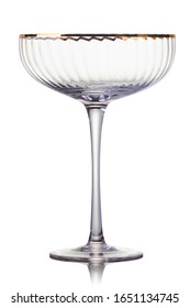 Empty luxury champagne glass on a white background. Isolated with clipping path.