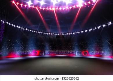 Empty main stage big music festival. Aroun full stadium of spectators. fans are holding flashlights