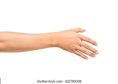 Empty  man hand on white background,This picture has been cut path