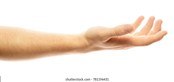 Empty man's hand, palm up on an isolated white background. Man hand isolated on white background, hold, grab or catch. Palm up. Alpha
