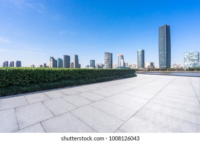 empty marble floor with cityscape in shanghai china