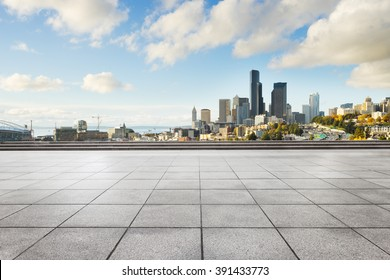 empty marble floor with cityscape and skyline of seattle