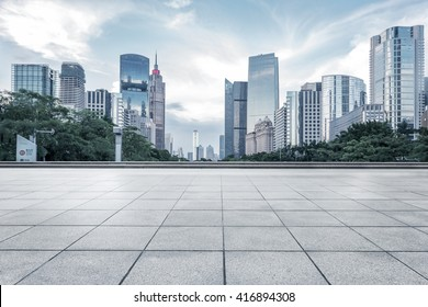 empty marble floor with cityscape and skyline in cloud sky - Shutterstock ID 416894308