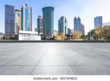 empty marble floor with modern office building