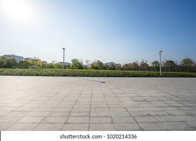 empty marble floor with panoramic cityscape