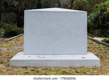 Empty Marble Gravestone in Historic Cemetery in Southern USa