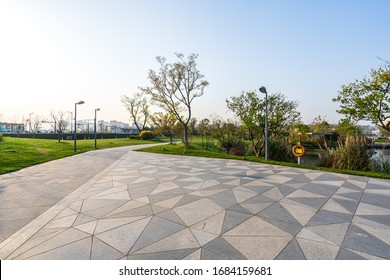 empty marble road in park